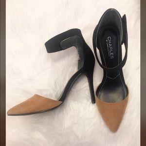 Charles David Ochre colorblock mod heels